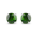 0.46 Carat Genuine Chrome Diopside .925 Sterling Silver Earrings
