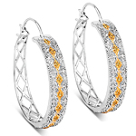0.31 Carat Genuine White Diamond and Yellow Diamond .925 Sterling Silver Earrings