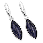 13.90 Carat Genuine Lapis .925 Sterling Silver Earrings