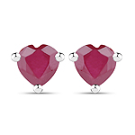 0.70 Carat Genuine Ruby .925 Sterling Silver Earrings