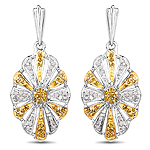 0.54 Carat Genuine White Diamond and Yellow Diamond .925 Sterling Silver Earrings