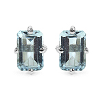 1.04 Carat Genuine Aquamarine Sterling Silver Earrings