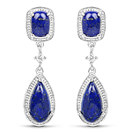 5.43 Carat Genuine Lapis And White Topaz .925 Sterling Silver Earrings
