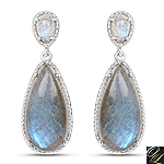 15.34 Carat Genuine Labradorite .925 Sterling Silver Earrings
