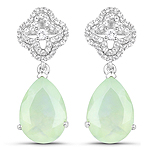 10.07 Carat Genuine Prehnite And White Topaz .925 Sterling Silver Earrings