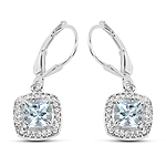 2.14 Carat Genuine Aquamarine & White Topaz .925 Sterling Silver Earrings