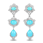 6.68 Carat Genuine Turquoise and White Topaz .925 Sterling Silver Earrings