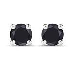 0.20 Carat Genuine Black Diamond .925 Sterling Silver Earrings