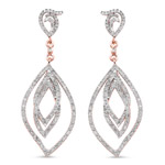 14K Rose Gold Plated 0.92 Carat Genuine White Diamond .925 Sterling Silver Earrings