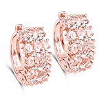 14K Rose Gold Plated 5.94 Carat Genuine Morganite and White Diamond .925 Sterling Silver Earrings
