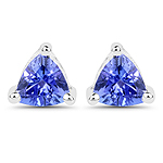 0.64 Carat Genuine Tanzanite 14K White Gold Earrings