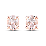 14K Rose Gold Plated 0.50 Carat Genuine Morganite .925 Sterling Silver Earrings