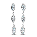 1.92 Carat Genuine Aquamarine .925 Sterling Silver Earrings