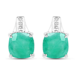 3.20 Carat Genuine Emerald Sterling Silver Earrings