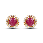 0.71 Carat Genuine Ruby and White Diamond 14K Yellow Gold Earrings