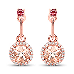 """1.03 Carat Genuine Morganite, Pink Tourmaline and White Diamond 14K Rose Gold Earrings"""