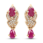 1.12 Carat Genuine Ruby and White Diamond 14K Yellow Gold Earrings
