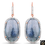 14K Rose Gold Plated 28.08 Carat Genuine Labradorite And White Topaz .925 Sterling Silver Earrings