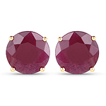 7.40 Carat Genuine Ruby 14K Yellow Gold Earrings