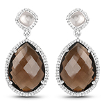 19.30 Carat Genuine Smoky Quartz, Crystal Quartz And White Topaz .925 Sterling Silver Earrings
