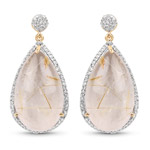 14K Yellow Gold Plated 35.15 Carat Genuine Golden Rutile and White Topaz .925 Sterling Silver Earrings