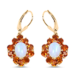 14K Yellow Gold Plated 5.42 Carat Genuine Ethiopian Opal, Citrine and White Topaz .925 Sterling Silver Earrings