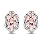 14K Rose Gold Plated 3.52 Carat Genuine Morganite And White Diamond .925 Sterling Silver Earrings