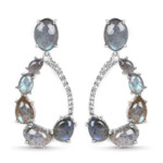 17.84 Carat Genuine Labradorite and White Topaz .925 Sterling Silver Earrings