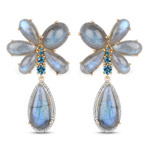 14K Yellow Gold Plated 47.85 Carat Genuine Labradorite, London Blue Topaz and White Topaz .925 Sterling Silver Earrings