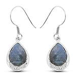 9.13 Carat Genuine Labradorite And White Topaz .925 Sterling Silver Earrings