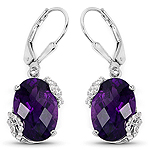 10.22 Carat Amethyst and White Topaz .925 Sterling Silver Earrings