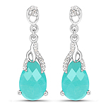 5.56 Carat Genuine Amazonite And White Topaz .925 Sterling Silver Earrings