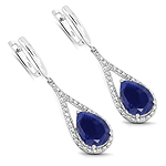4.59 Carat Genuine Blue Aventurine .925 Sterling Silver Earrings