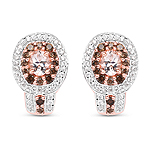 """18K Rose Gold Plated 1.36 Carat Genuine Morganite, Smoky Quartz and White Zircon .925 Sterling Silver Earrings"""