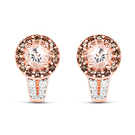 18K Rose Gold Plated 1.42 Carat Genuine Morganite, Smoky Quartz and White Zircon .925 Sterling Silver Earrings