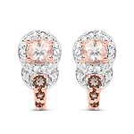"""18K Rose Gold Plated 0.84 Carat Genuine Morganite, Smoky Quartz and White Zircon .925 Sterling Silver Earrings"""