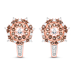 """18K Rose Gold Plated 1.58 Carat Genuine Morganite, Smoky Quartz and White Zircon .925 Sterling Silver Earrings"""