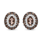 1.54 Carat Genuine Smoky Quartz and White Topaz .925 Sterling Silver Earrings