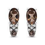 0.98 Carat Genuine Smoky Quartz and White Topaz .925 Sterling Silver Earrings