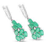 6.69 Carat Genuine Emerald and White Diamond .925 Sterling Silver Earrings