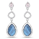 9.57 Carat Genuine Rose Quartz, Labradorite And White Topaz .925 Sterling Silver Earrings