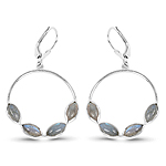 4.18 Carat Genuine Labradorite .925 Sterling Silver Earrings
