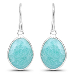 7.92 Carat Genuine Amazonite .925 Sterling Silver Earrings