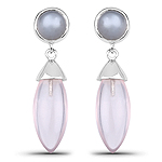 13.20 Carat Genuine Grey Moonstone And Rose Quartz .925 Sterling Silver Earrings