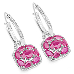 5.12 Carat Genuine Ruby and White Zircon .925 Sterling Silver Earrings