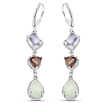 9.56 Carat Genuine Crystal Quartz, Smoky Quartz and Prehnite .925 Sterling Silver Earrings