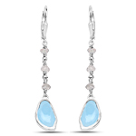 5.53 Carat Genuine Aquamarine and Labradorite .925 Sterling Silver Earrings