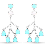 3.55 Carat Genuine Turquoise and White Agate .925 Sterling Silver Earrings