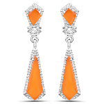 4.47 Carat Genuine Carnelian and White Topaz .925 Sterling Silver Earrings