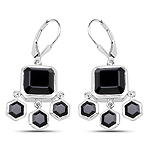 10.44 Carat Genuine Black Onyx .925 Sterling Silver Earrings
